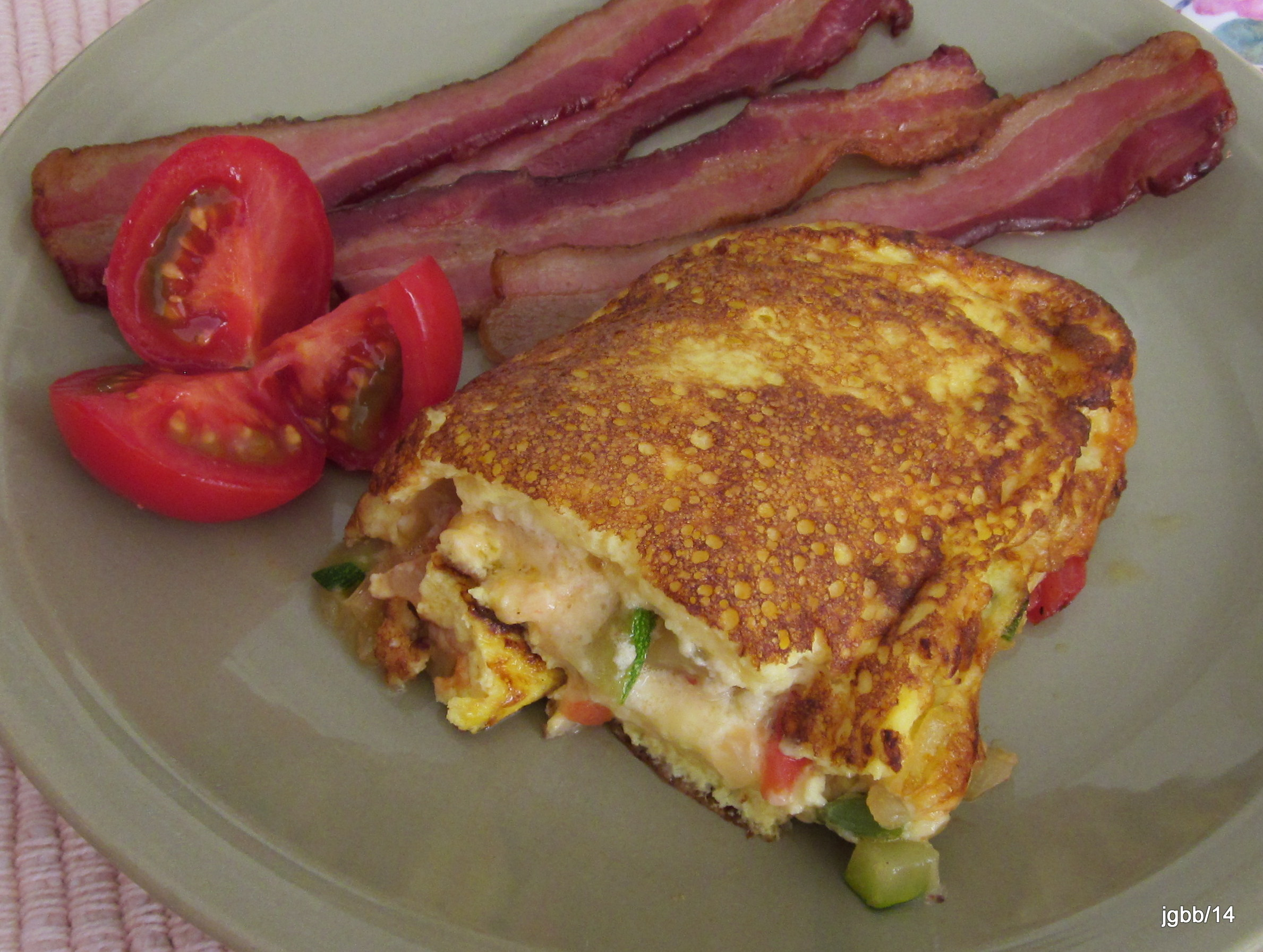 Omelette and bacon